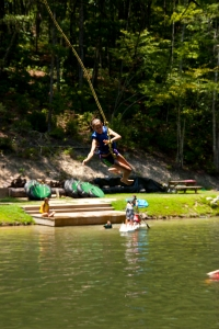 Enjoy the lake, robe swing, and slide.